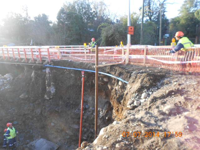 Faenas para la construcción del puente